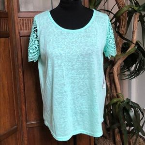 Parker Lace Sleeve T-shirt, Fits like XL